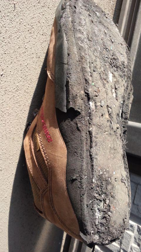 靴底が剥がれ落ちた